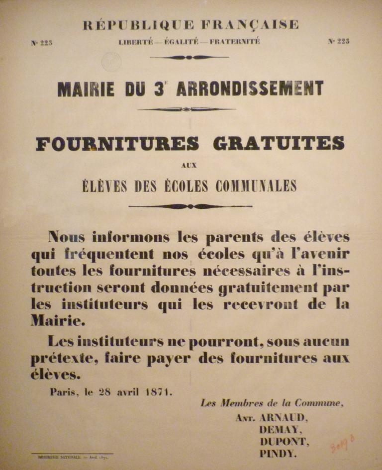 Fournitures gratuites, affiche du 28 avril 1871